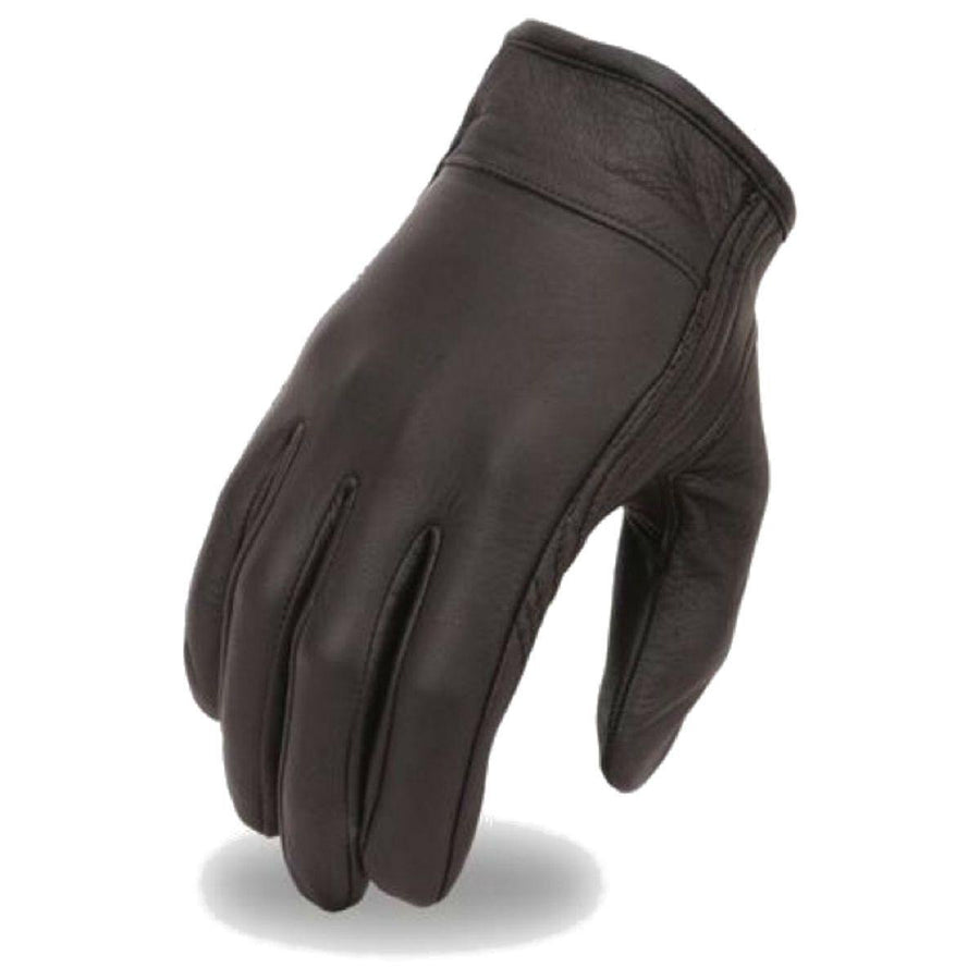 First Manufacturing Cruising Black Leather Gloves w/ Gel Palm & Velcro Wrist Strap - American Legend Rider