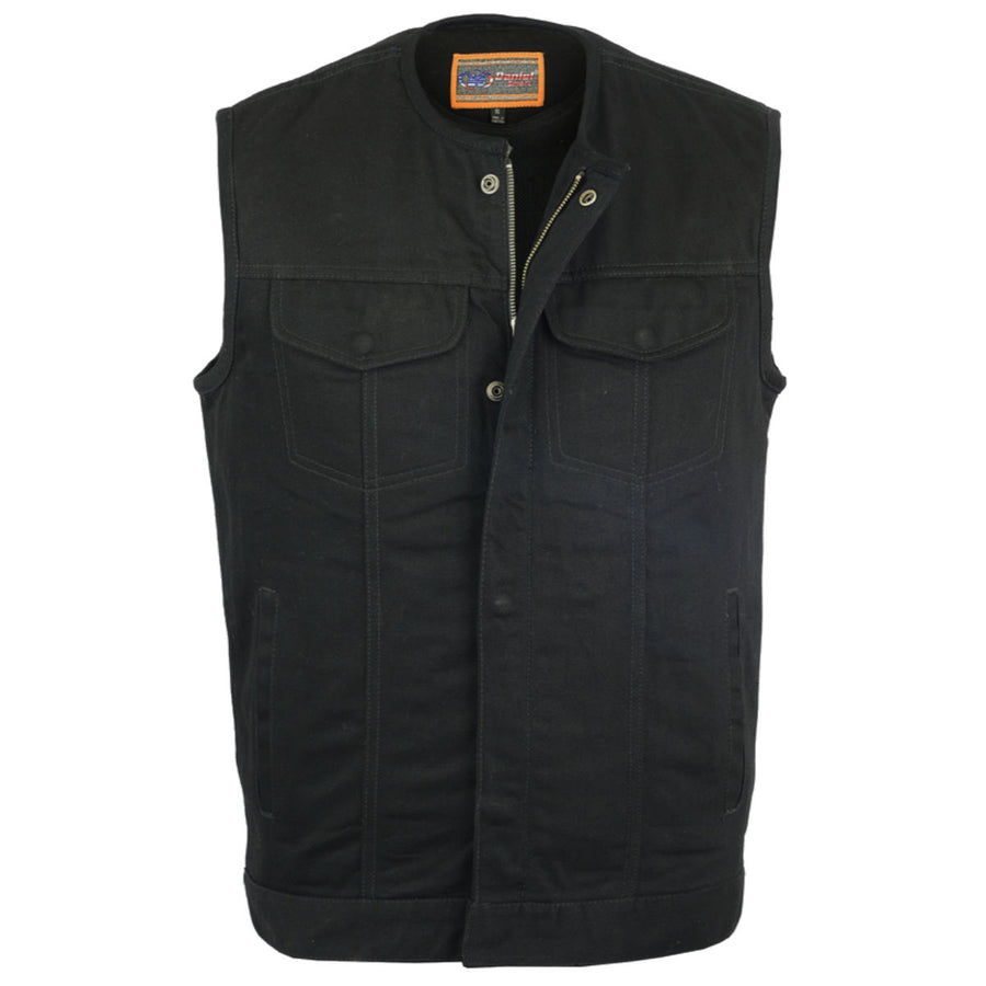 Daniel Smart Concealed Snaps, Hidden Zipper, w/o Collar Black Denim Vest