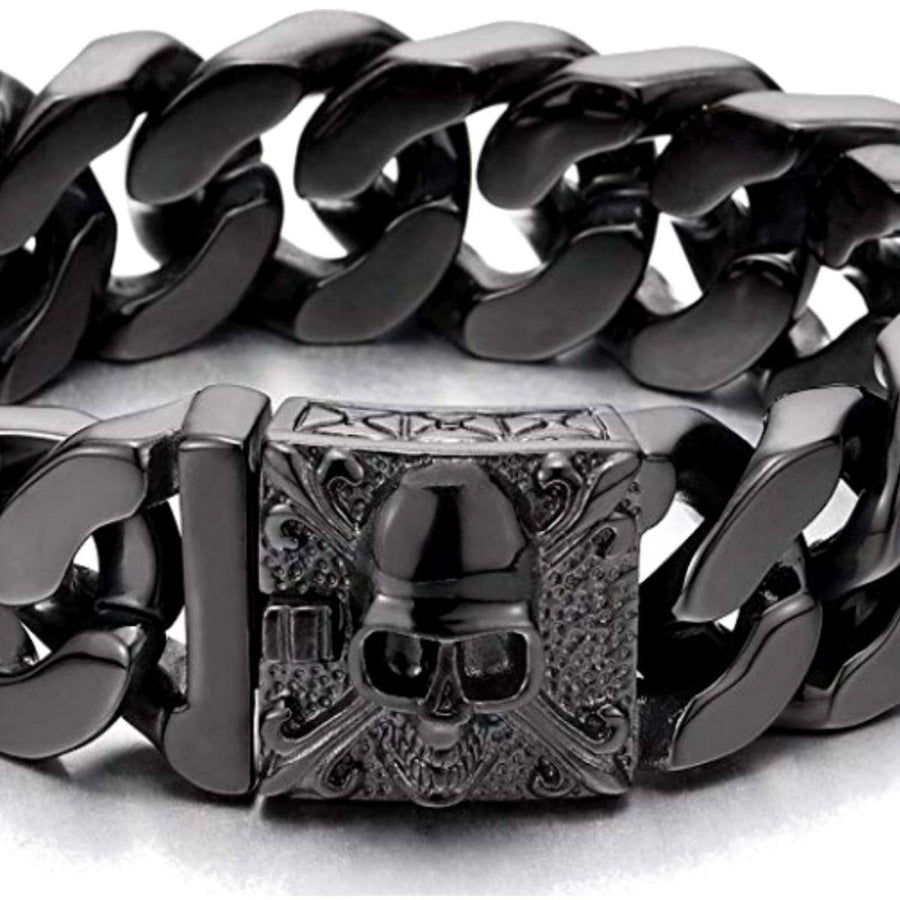 Polished Skull Bracelet For Bikers