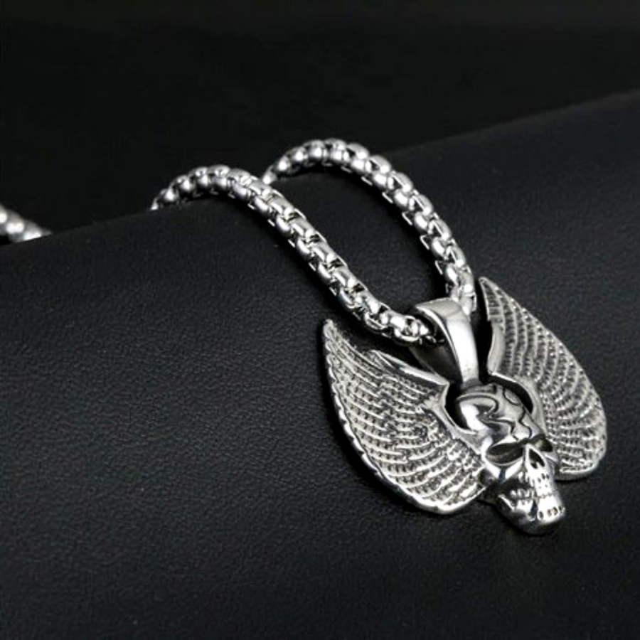 Stainless Steel Winged Skull Pendant Necklace, Silver Color