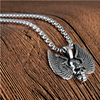 "Men's Stainless Steel Winged Skull Pendant Necklace, Pendant 1.2"" x 1.3"", Rope Chain Necklace 23.6"", Silver"