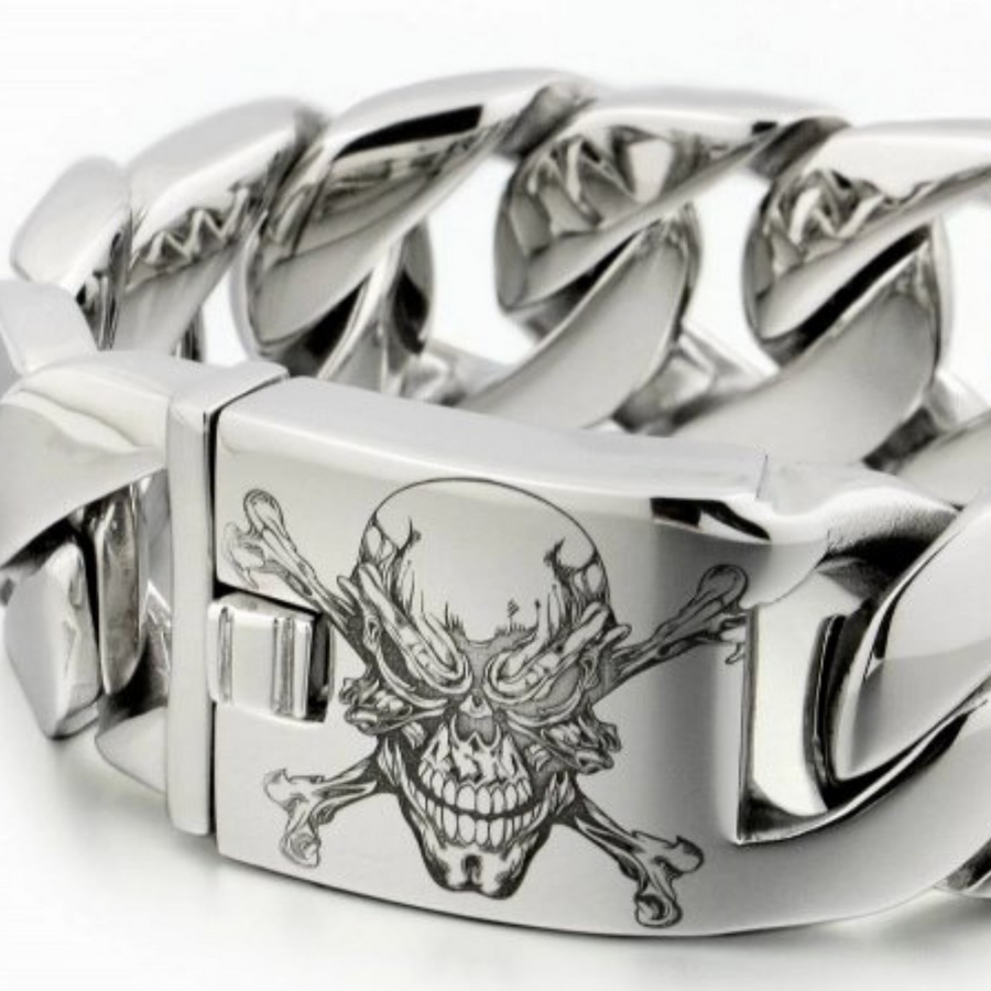 Men's Handmade Pirate Link Stainless Steel Bracelet