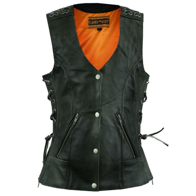 Daniel Smart Gray Vest with Grommet & Lacing Accents