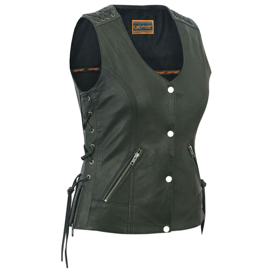 Daniel Smart Black Vest with Grommet and Lacing Accents - American Legend Rider