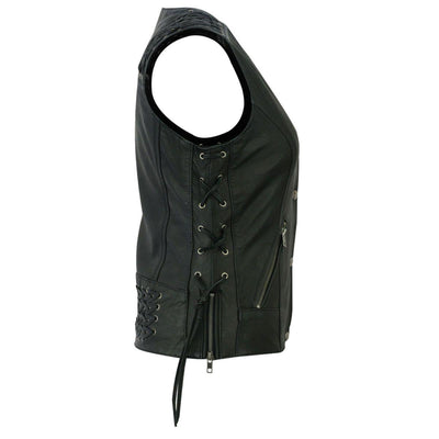 Daniel Smart Black Vest with Grommet and Lacing Accents