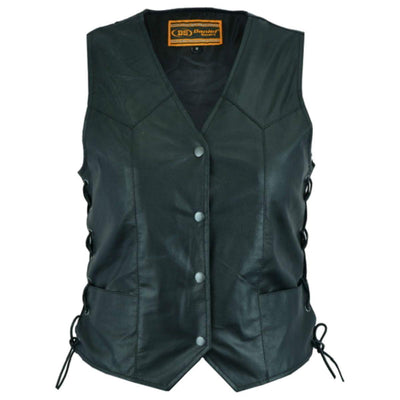 Daniel Smart Women's Traditional Light Weight Leather Vest, XS-5XL, Black