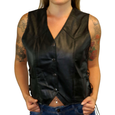 Daniel Smart Traditional Light Weight Black Leather Vest