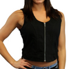 Daniel Smart Women's Stylish Denim Vest w/ Side Lacing - American Legend Rider