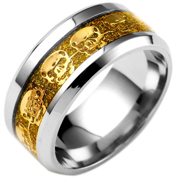 Skull Band Ring Stainless Steel, 0.3 in/8 mm, w/ Yellow Gold Color Skulls Eternity Inlay, Silver/Gold