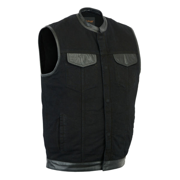 Daniel Smart Denim Concealment Vest w/ Leather Trim 2.0