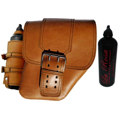 La Rosa Leather Saddle Bag with Fuel Bottle