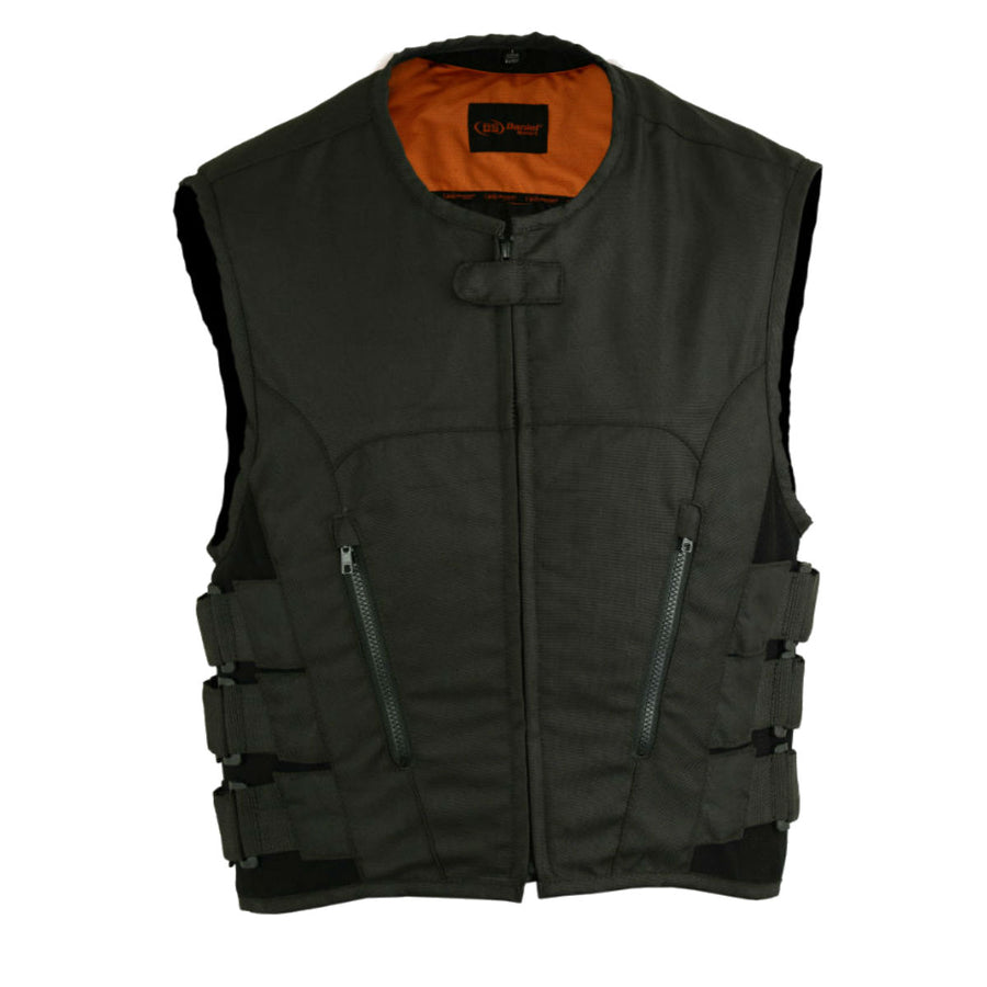 Daniel Smart Men's Swat Team Style Motorcycle Vest, Textile Material, S-8XL, Black