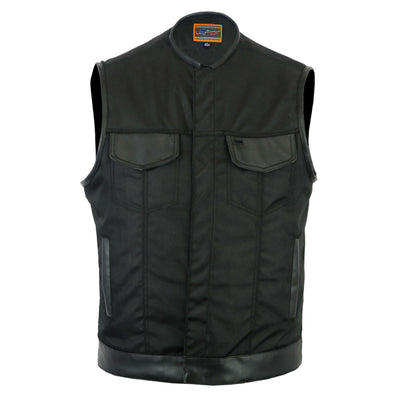 Daniel Smart Textile Concealed Snap Closure Vest w/ Leather Trimming