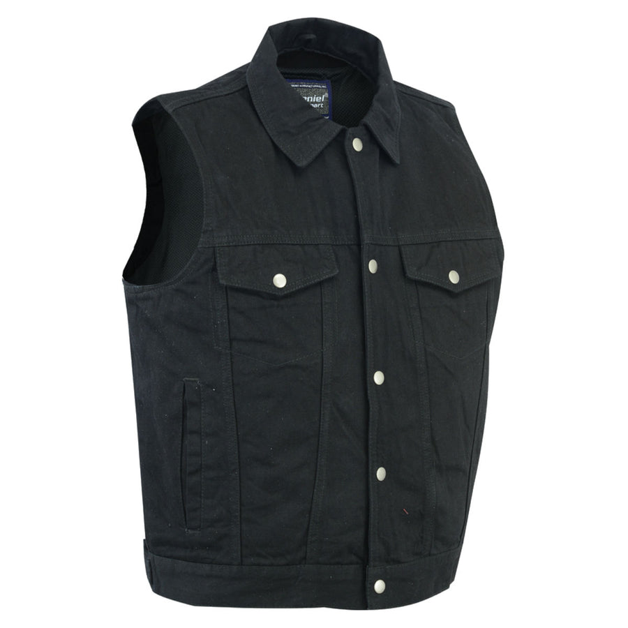 Daniel Smart Black Snap/Zipper Front Denim Vest