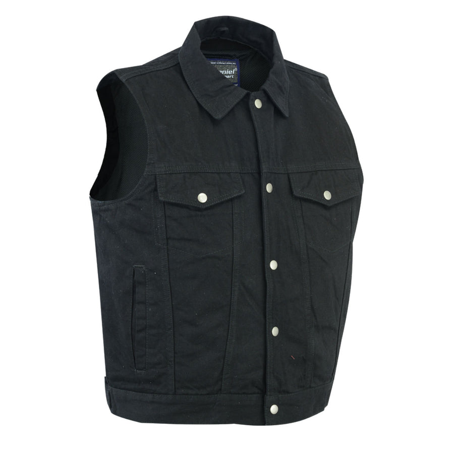 Daniel Smart Snap Front Denim Vest - Black