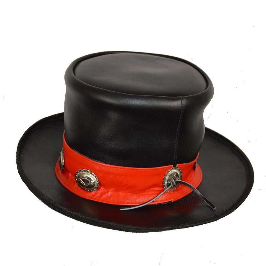 Vance Leather Men's Mad Hatter Top Hat with Red Stripe and Conchos