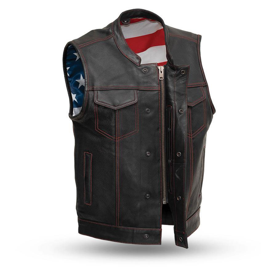 First Manufacturing Born Free Custom Motorcycle Leather Vest, Black w/ Red Stitch