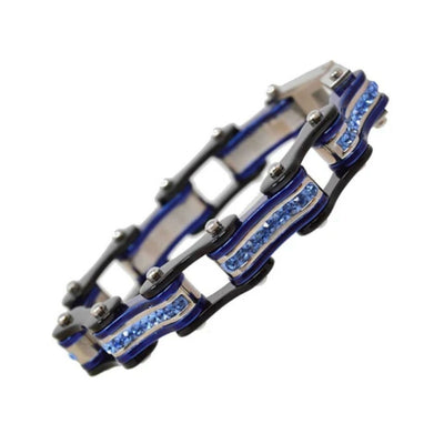 Daniel Smart Women's 316L Stainless Steel Bike Chain Bracelet w/ Blue Crystal Centers, Black/Candy Blue