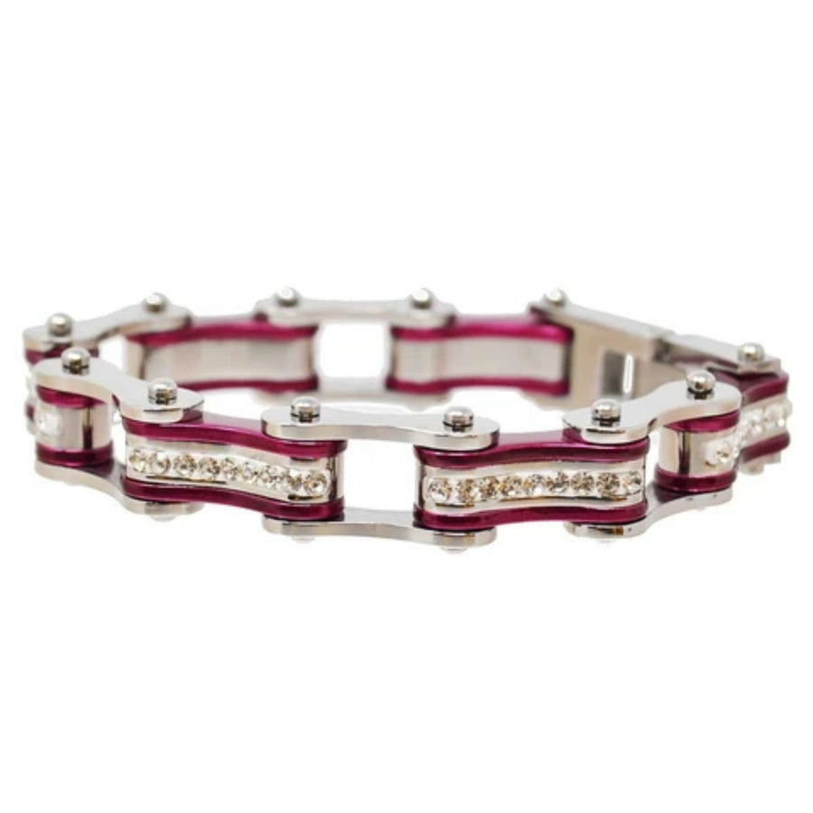 Daniel Smart Women's 316L Stainless Steel Bike Chain Bracelet w/ White Crystal Centers, Silver/ Candy Purple
