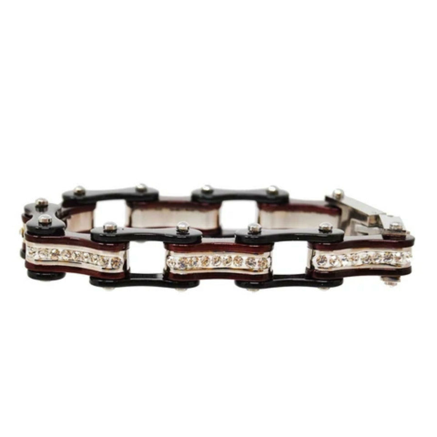 Daniel Smart Women's 316L Stainless Steel Bike Chain Bracelet w/ White Crystal Centers, Black/Candy Red