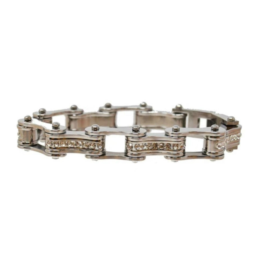 Daniel Smart Women's 316L Stainless Steel Bike Chain Bracelet w/ White Crystal Centers, Silver