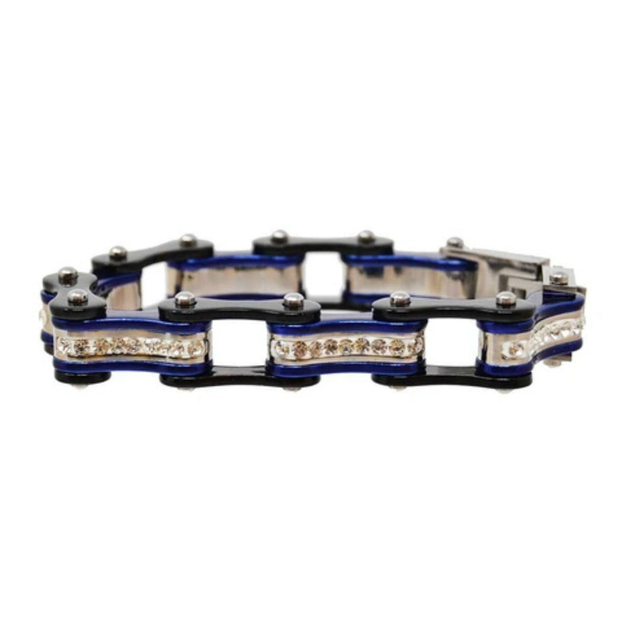 Daniel Smart Women's 316L Stainless Steel Bike Chain Bracelet w/ White Crystal Centers, Black/Candy Blue