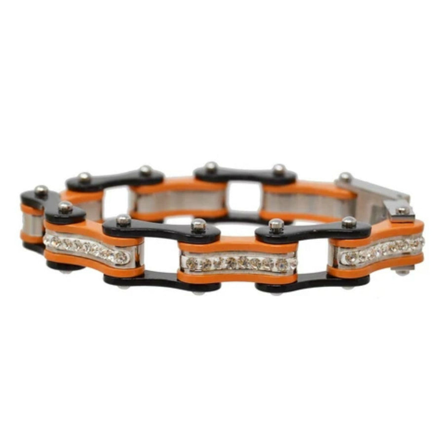 Daniel Smart Women's 316L Stainless Steel Bike Chain Bracelet w/ White Crystal Centers, Black/Orange