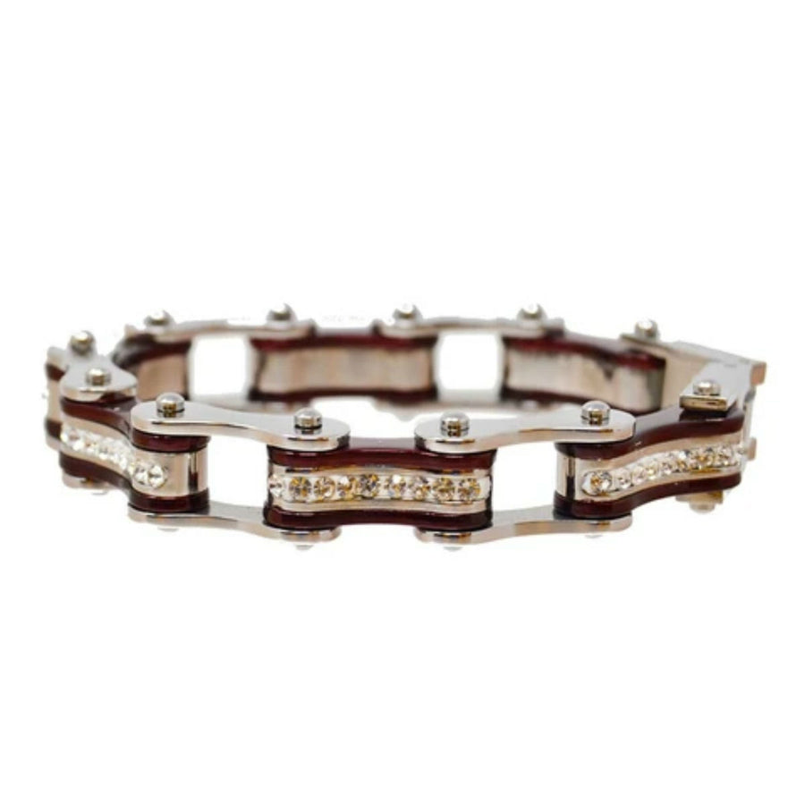 Daniel Smart Women's 316L Stainless Steel Bike Chain Bracelet w/ White Crystal Centers, Silver/Candy Red
