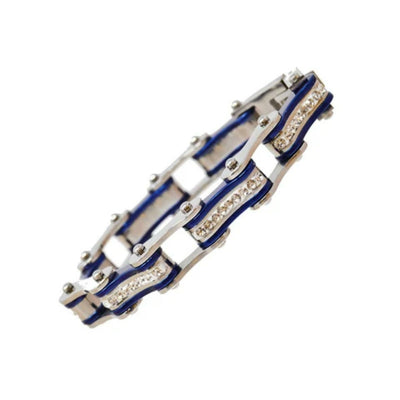 Daniel Smart Women's 316L Stainless Steel Bike Chain Bracelet w/ White Crystal Centers, Silver/Candy Blue