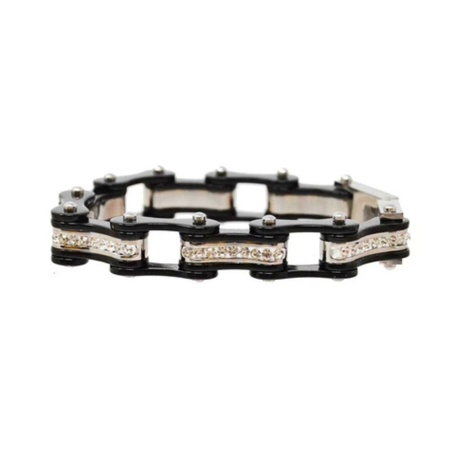 Daniel Smart Women's 316L Stainless Steel Bike Chain Bracelet w/ White Crystal Centers, Black/Black