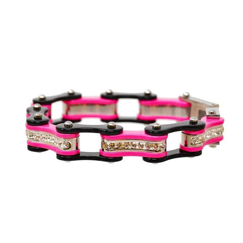 Daniel Smart Women's 316L Stainless Steel Bike Chain Bracelet w/ White Crystal Centers, Black/Pink