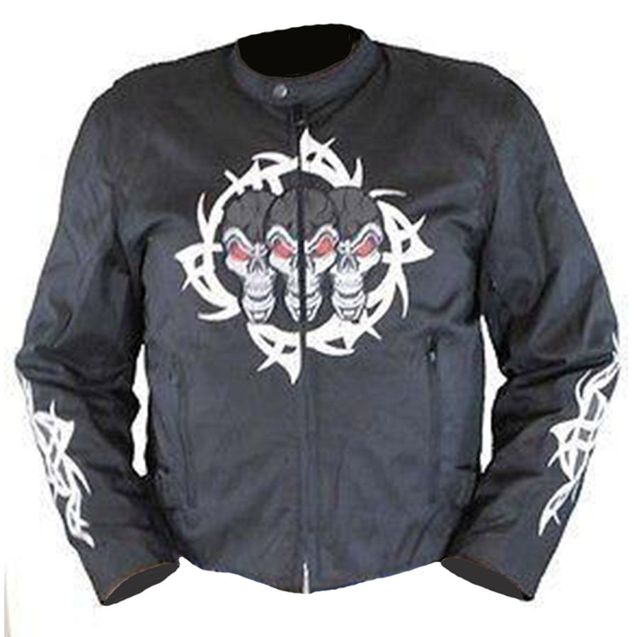 Vance Leather Men's Textile Jacket with Reflective Skull and Razor Wire Highlights
