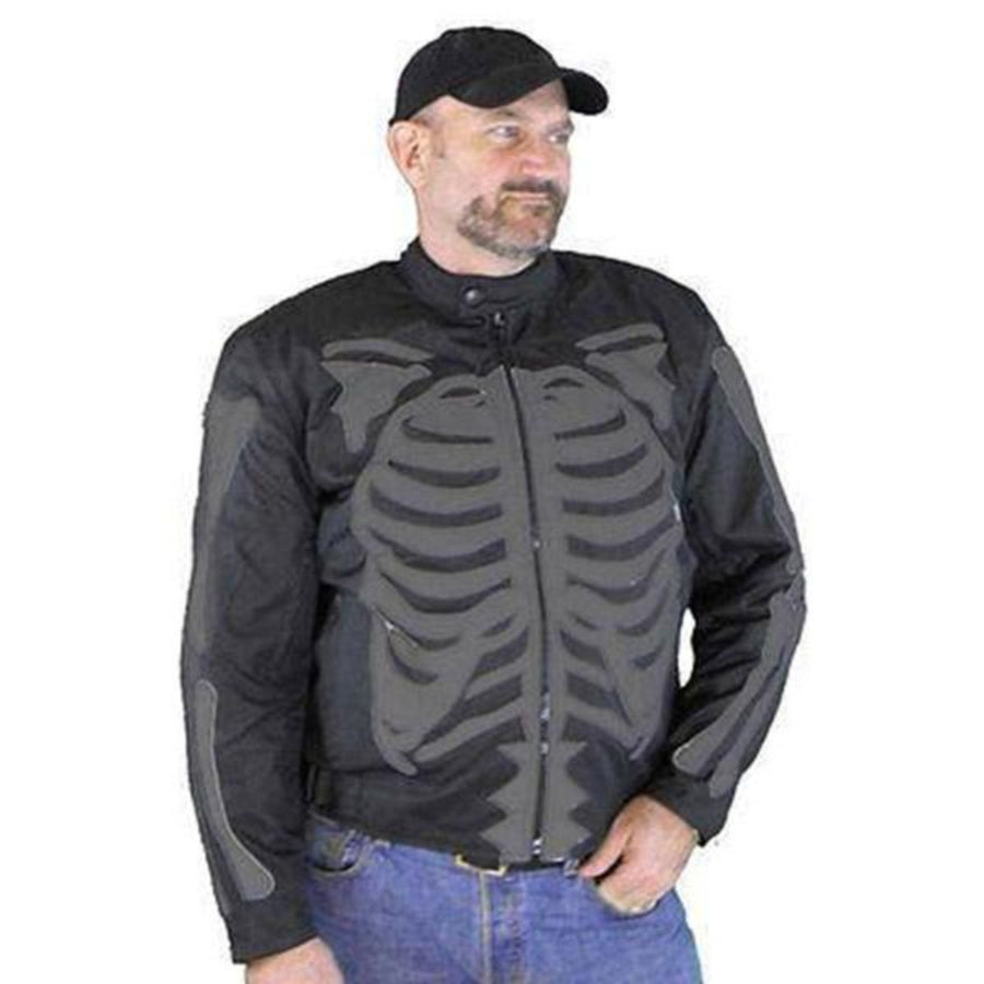Vance Leather Men's Reflective Skeleton Textile Jacket with Dark Gray Bones