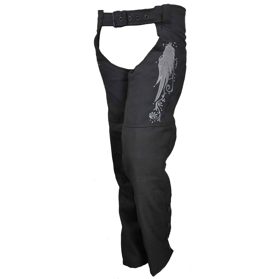 Vance Leather Women's Textile Chaps with Reflective Wings & Embroidery