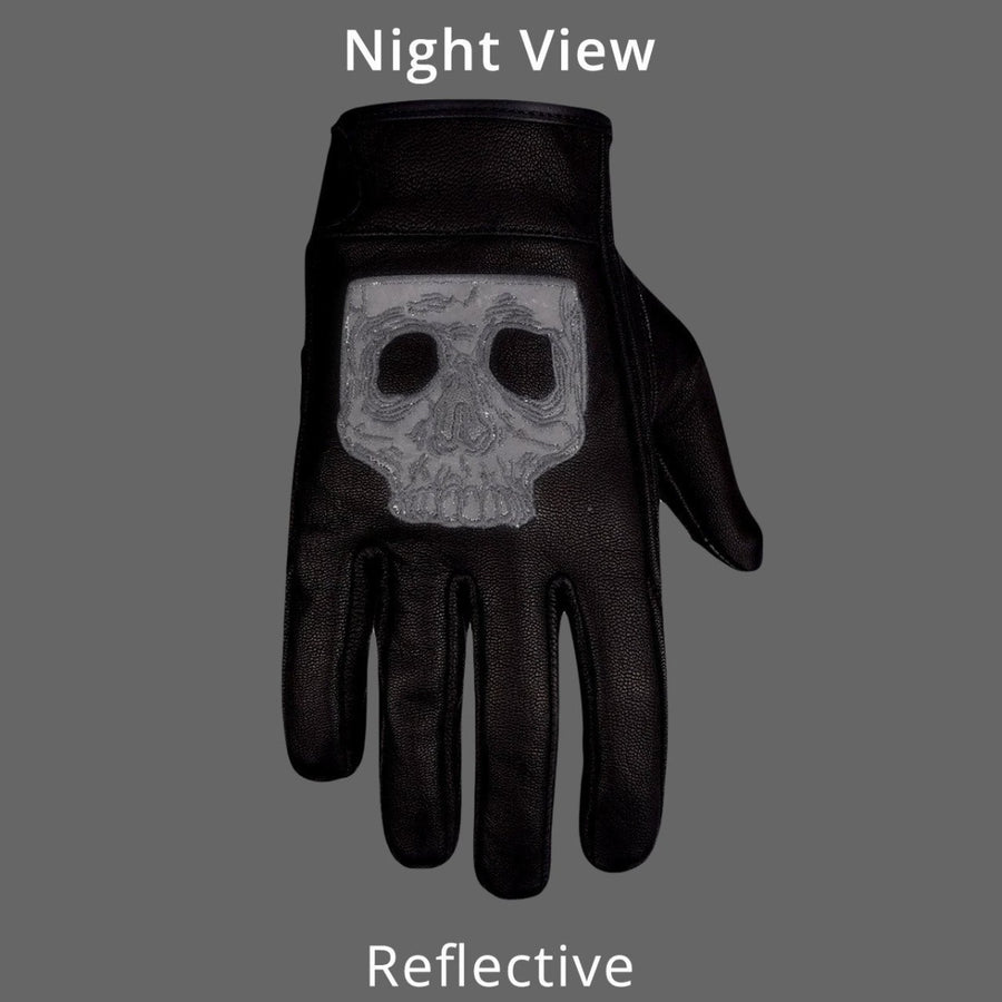 Vance Gel Palm Riding Leather Gloves with Skull