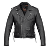 Vance Leather Men's Premium Classic Motorcycle Jacket Lace Sides & Z/O Liner