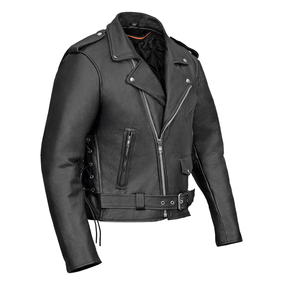 Vance Leather Men's Basic Classic Motorcycle Jacket with Lace Sides & Zip out Liner