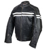 Vance Leather Vintage Motorcycle Leather Jacket with White Stripes