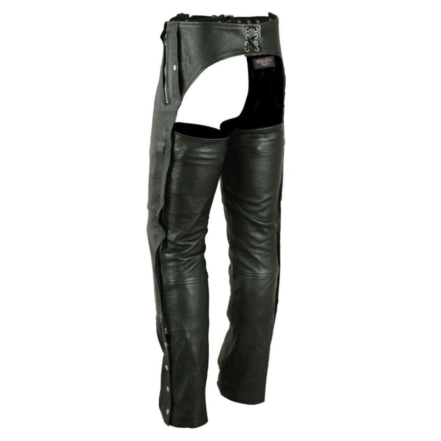 Vance Leather Black Four Pocket Biker Leather Motorcycle Chaps, Unisex