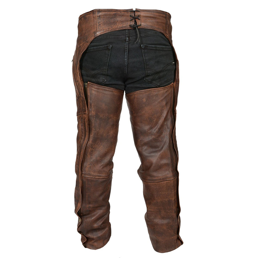 Vance Leather High Mileage Vintage Brown Leather Chaps