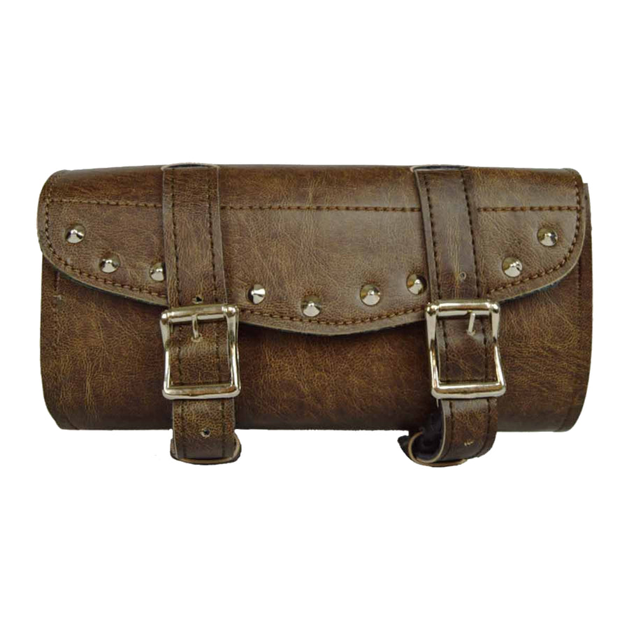 Vance Leather Distressed Brown Two Strap Studded Tool Bag with Quick Releases