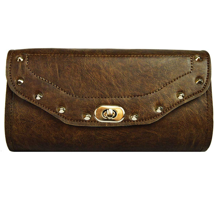 Vance Leather Distressed Brown Tool Bag Studded w/Twist Latch