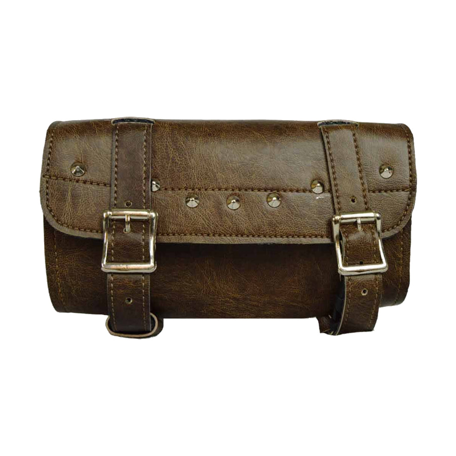 Vance Leather Distressed Brown Two Strap Tool Bag with Quick Releases, Studded
