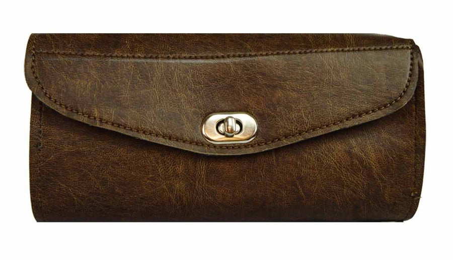 Vance Leather Distressed Brown Plain Two Strap Tool Bag w/Twist Latch