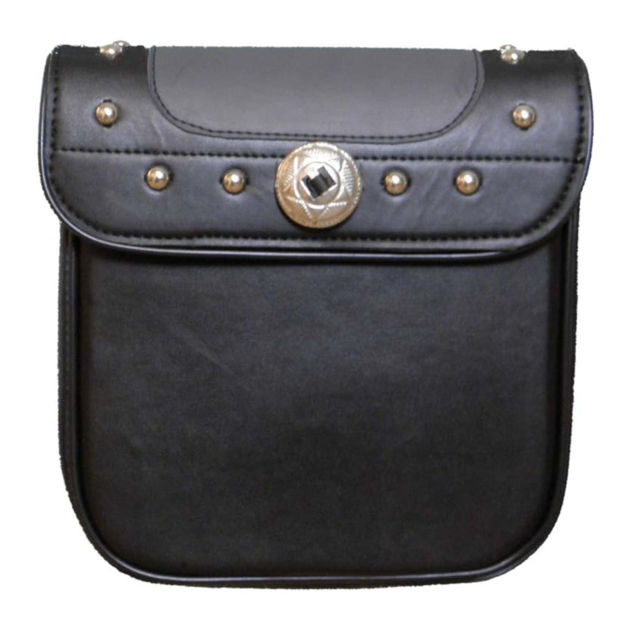 Vance Leather Black and Gray Studded Sissy Bar Bag