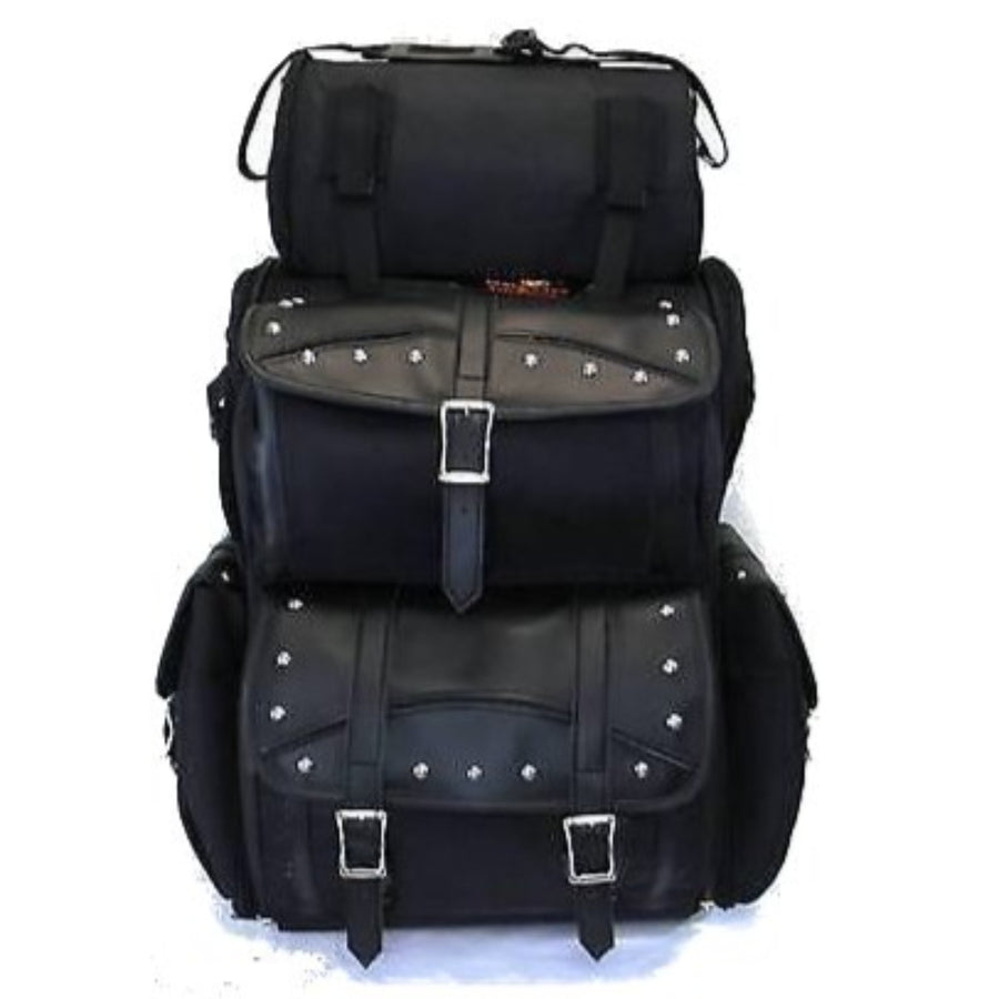 Vance Leather Extra Large Studded 2-Piece Travel Bag/Back Pack