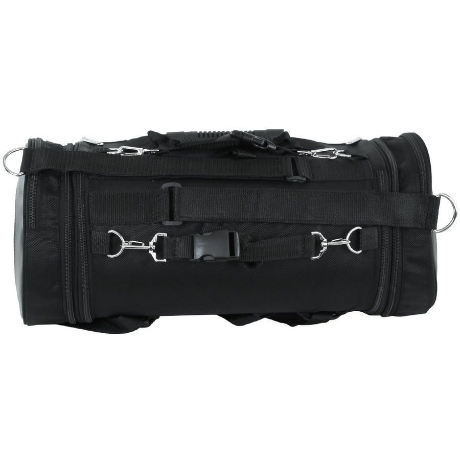 Vance Leather Expandable Roll Bag with Faux Leather Trim