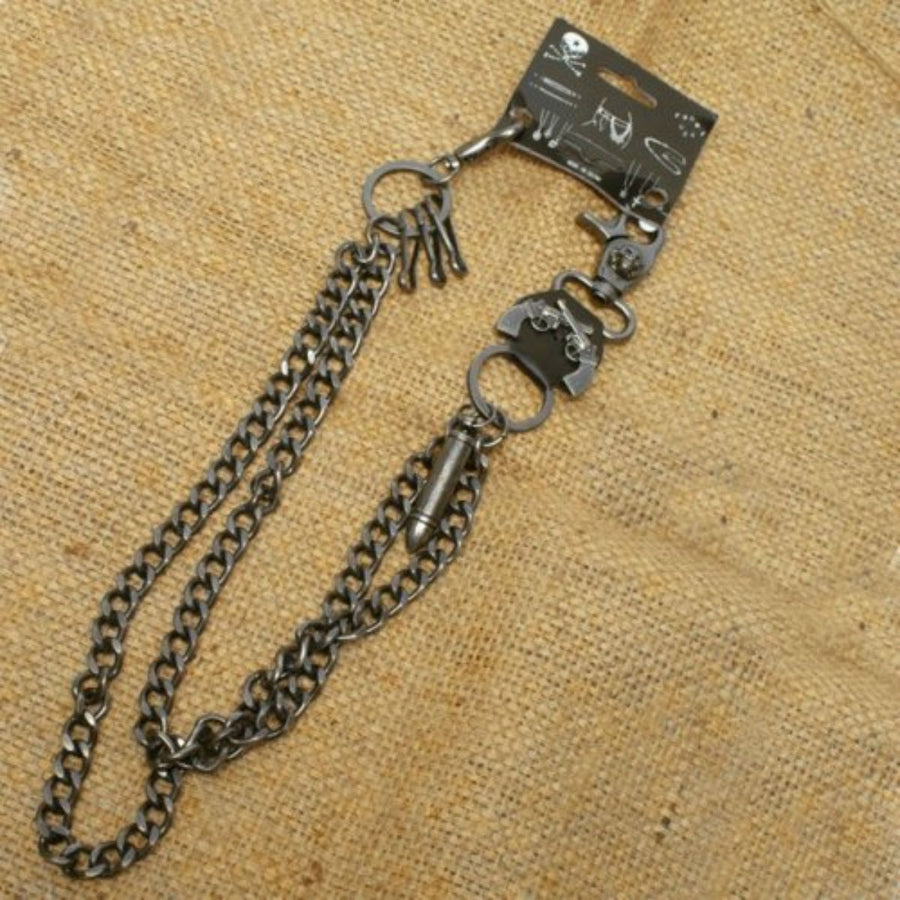 Daniel Smart Double Wallet Chain w/ Skull/Guns/Bullet Designs
