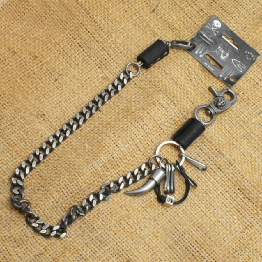 Daniel Smart Wallet Chain w/ Skull/Horn/Leather designs, Single Chain, Unisex, Antique Silver/Black