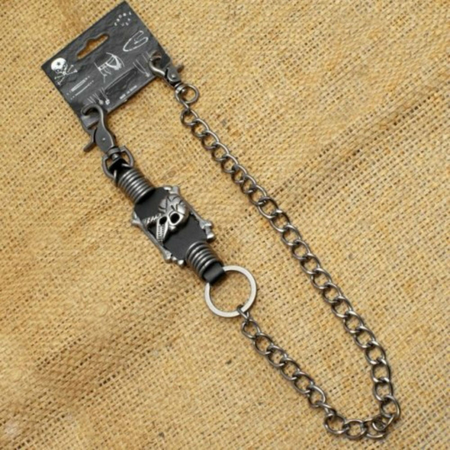 Daniel Smart Wallet Chain with skull metal rings and leather designs
